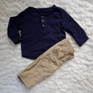 6-12 Month Boy Gymboree Outfit Set Khakis and Top